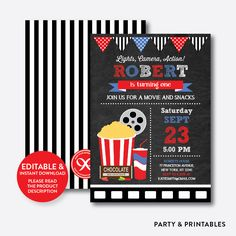 Movie Red Chalkbo... http://partyandprintables.com/products/movie-red-chalkboard-kids-birthday-invitation-editable-instant-download-ckb-169b?utm_campaign=social_autopilot&utm_source=pin&utm_medium=pin #partyprintables #birthdayinvitation #partysupplies #partydecor #kidsbirthday #babyshower