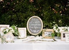 """We are but a reflection of those who have come before us."" Such a lovely way to honor the happily married couples who inspire you. Photo: @chrissymcneill / Event Planning & Design: Stacy McCain Events / Floral Design: Loop Flowers / Calligraphy: BeeCurious Designs"
