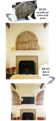 Hide the TV with cool old doors / Rachel Halvorson Nest Egg Arched Doors, Old Doors, Salvaged Doors, Wooden Doors, My Living Room, Home And Living, Simple Living, Living Spaces, Tv Above Fireplace