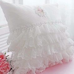 Lace Love Ruffle Cushion Cover ~ <3