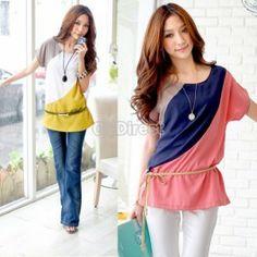 Women Summer Loose Round Neck Short Sleeve Casual Chiffon Shirt Tops Blouse
