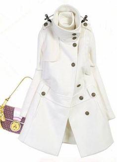 Glamorous Long Sleeve Single Breasted White Shirred Waist Coat Size L