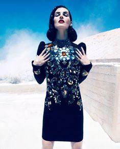 Lanvin dress and Tom Binns jewelry - Best of Fall Fashion 2012 // Harper's BAZAAR