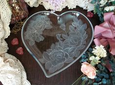 Serving Tray Dessert Platter Shapped Heart Floral Rose Designs Glass Victorian Shabby Chic Romantic Crystal Wedding Bridesmaid Gift