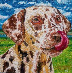 Et c'est pour qui le beau nonos ? - Peinture,  40x40x1,5cm ©2017 par David Cadran - #Peinture aux doigts - #fingerpainter #fingerpainting #impressionism #oilpainting  #portraitart #animals #pet #dogart #dog