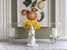 Easter Decor: Bunny flower vase and candles. CR