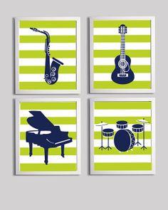 Nursery Art Guitar Music Saxophone Piano Drums Kids Room customizable set of 4 wall art prints each 11x14
