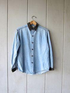 7949f07b37b Vintage 90s Jean Shirt Light Blue Cotton Button Up Shirt 90s Jeans