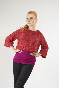 Cropped Merino Wool Sweater with black Harem Pants by @foatdesign. www.foatdesign.com