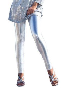 Fashion Bug Womens Plus Size Metallic Leggings (Silver Metallic,3X)