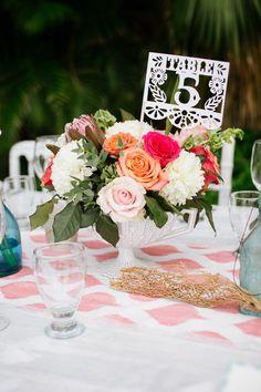 Números de mesa de boda mexicana Papel Picado Fiesta