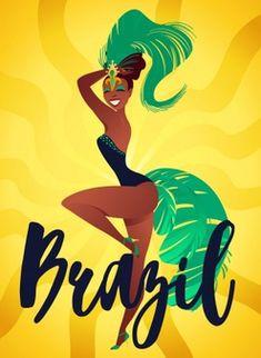 Brazilian samba posters Havana Nights Party Theme, Rio Festival, Brazilian Samba, Brazil Art, Cut Paper Illustration, Brazil Carnival, Samba Costume, Caribbean Carnival, Brazil Travel