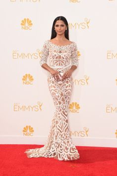 Camila Alves Camila Alves showed just the right amount of skin in this see-through lace Zuhair Murad dress.
