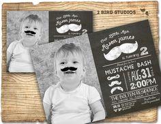 Little man mustache birthday party invitation - mustache invitation - DIY printable little man chalkboard mustache invite by 2birdstudios on Etsy