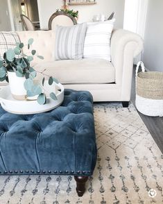 Blue tufted ottoman in Neutral Living room decor blue living room Neutral Home Decor Inspiration from Twine + Trowel Decor, Living Room Inspiration, Living Room Decor Neutral, Homedecor Living Room, Living Room Diy, Living Room Designs, Living Room Remodel, Living Decor, Home Decor