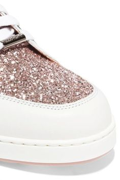 Jimmy Choo - Miami Glitter-paneled Leather Sneakers - White - IT39.5