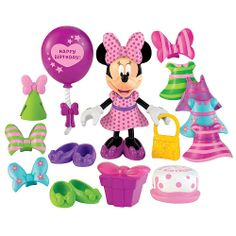 Fisher-Price Minnie Bowtique Doll - Birthday. Its time for a birthday party! Dress Minnie for the party any way you want with fun and easy snap-on clothing. Of course Minnie cant show up at the party without balloons a party hat cake and a gift! Everything you need for a birthday party! Includes so many outfit choices - 17 play pieces in all: Dress-up Minnie figure 5 special birthday dresses 4 bows 3 pairs of party shoes purse balloons cake and a present!br