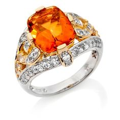Victoria Wieck 3.9ct Fire Citrine and Topaz 2-Tone Ring