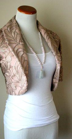 Light pink stone necklace, rose quartz beads with vintage jade scarab beetle pendant