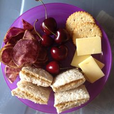 Easy Toddler Food - Sweet Potato Chips, Cherries, Cheese & Crackers and PB on Wholemeal