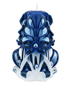 Loving this Blue, Light Blue & White Carved Magic Candle on #zulily! #zulilyfinds