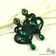 Green Gold Dangle Earrings Long Soutache от SBjewelrySoutache