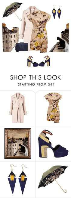 """""""Floral dress"""" by indiamonds ❤ liked on Polyvore featuring Miss Selfridge, Rochas, Pierre Hardy, Toolally, Pasotti Ombrelli and Sondra Roberts"""