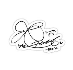 'BTS V Signature' Sticker by musicalsamurai Bts Tattoos, Korean Tattoos, Printable Stickers, Cute Stickers, Bts Tickets, Bts Book, Bts Clothing, Collage Template, Tumblr Stickers