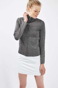 Perfect the athleisure look in this zip through funnel neck track top by Boutique, featuring a ring zip puller. In a grey-silver finish, this form fitting jumper can be styled casually with a plain skirt or sports leggings #Topshop