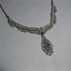 Vintage 1920s Wedding Necklace Rhinestone Art Deco Bridal Fashions 1930s