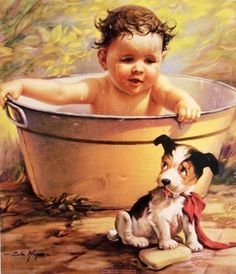 Guiltiest Feeling - 1873-1947  Artist Zula Kenyon image of a small boy bathing in a washtub while his puppy plays with the soap bar