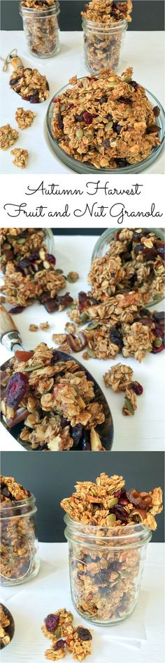 This homemade granola recipe is loaded with cinnamon, warm vanilla, pumpkin seeds and tart cranberries and is naturally… (fruit snacks homemade) Fall Recipes, Snack Recipes, Cooking Recipes, Nut Recipes, Freezer Recipes, Cereal Recipes, Cooking Tips, Granola Breakfast, Breakfast Dishes