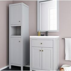 Sink Vanity Unit, Vanity Units, Toilet Storage, Tall Cabinet Storage, Open Shelving, Shelves, Free Standing Cabinets, Modern Bathroom Design, Panel Doors