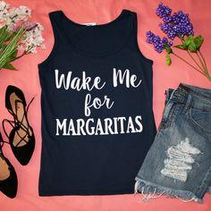 """Wake Me For Margaritas"" Navy Graphic Tank Top"