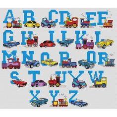 cars alphabet cross stitch patterns | Patterns by Download > Alphabets > Cars and trains alphabet