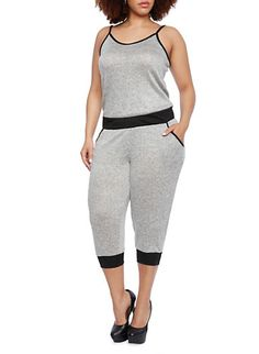 Plus Size Colorblock Knit Jumpsuit with Elastic Waistband