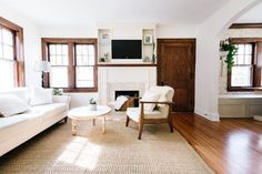 White dove for walls and simply white for trims (notice how they paint the baseboard white and keep other places wood)