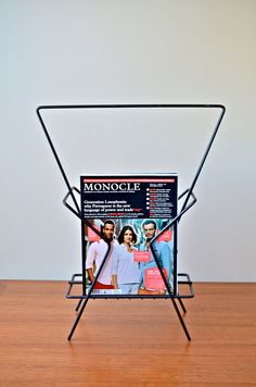 Vintage 1950s Atomic Era Black Iron Metal Magazine Rack