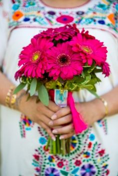magenta bridesmaids bouquets - Mexican wedding