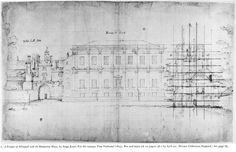 Iñigo Jones, Banquettin House, diseño del escenario para una obra de Ben Jonson, 1623, Nueva York, The Morgan Library.