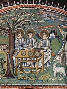 Basilica of San Vitale, Ravenna, Italy.Byzantine mosaic ca. 547 AD portraying Abraham and the angels. The Sacrifice of Isaac. Early Christian, Christian Art, Religious Icons, Religious Art, Ravenna Mosaics, Byzantine Art, Byzantine Mosaics, Byzantine Architecture, Religious Paintings
