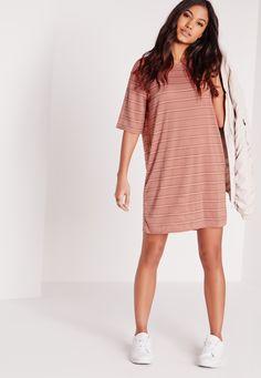 Oversized Sheer Stripe T-Shirt Dress Rose/Black - Missguided Dresses Uk, Cute Dresses, Prom Dresses, Summer Dresses, Formal Dresses, Striped T Shirt Dress, Going Out Dresses, Missguided, New Dress