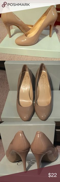 """Jessica Simpson Nude Pumps Nude pumps made with faux leather upper. Closed almond toe. Slip on entry. Cushioned insole. Great condition, perfect for stepping out or to wear to the office.  •4"""" heel •1/2"""" platform  •Sz 7 1/2 (true to size) •Pre-loved condition. Actual shoes pictured (buy with confidence). Last photo shows minor flaws on right and left shoe, mostly seen up close. •Box included.  **Any Questions? Please ask prior to purchase** Jessica Simpson Shoes Heels"""