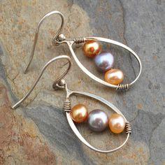 Cultured Pearl Sterling Silver Earrings - Pearl Trio. $24.00, via Etsy.