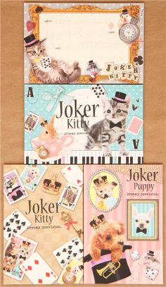 cat baby animals Letter Set with gold stickers Kamio 1