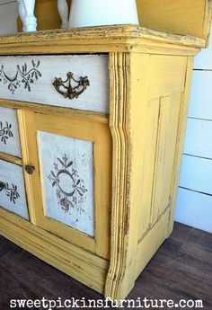 light yellow painted furniture pictures | Antique Washstand} – Before & After | Sweet Pickins Furniture