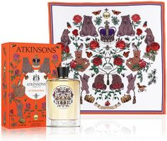 Perfume label Atkinsons teamed up with Silken Favours for nature and Arts & Crafts inspired prints. fig.: Atkinsons limited edition of '24 Old Bond Street' designed by Silken Favours  Silken Favours founder, artistic director Vicky Murdoch incorporated Atkinsons' logo bear into the Arts & Crafts inspired hand-painted illustrations of British nature for the designs of the package, bottle and silk scarf...