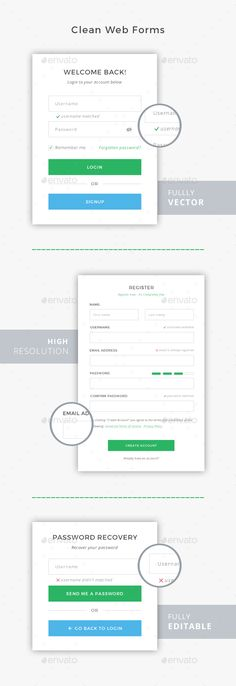 Clean Web Forms Template PSD