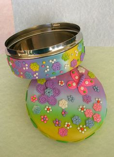 Decorated tin, #polymer #clay, #pastel