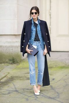 Leandra Medine at Paris Fashion Week Street Style 2014, Autumn Street Style, Street Style Looks, Looks Style, Street Chic, Denim Fashion, Look Fashion, Autumn Fashion, Fashion Men